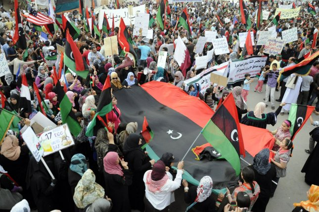 Libyans participate in a demonstration against Libyan leader Muamer Qadhafi in the eastern city of Benghazi on May 3, 2011. Hundreds of demonstrators, including tribal elders, rallied to show support with the rebels in the rebel's stronghold city of Benghazi. UPI\Tarek Alhuony
