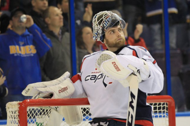 Braden Holtby picked up his seventh shutout of the season, five different players scored and the Washington Capitals defeated the Carolina Hurricanes 5-0 on Tuesday night for their 10th straight home win. File Photo by Bill Greenblatt/UPI