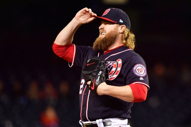 Washington Nationals relief pitcher Shawn Kelley (27). Photo by Kevin Dietsch/UPI