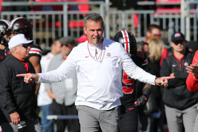 Ohio State head coach Urban Meyer gets the Buckeyes ready for their game against Nebraska on November 3, 2018 in Columbus, Ohio. Photo by Aaron Josefczyk/UPI