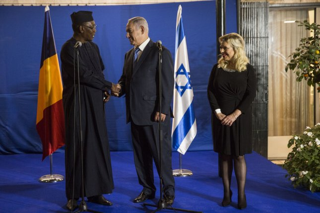 Chad President Idriss Deby meets Tuesday with Israeli Prime Minister Benjamin Netanyahu and his wife Sarah at the prime minister's residence in Jerusalem. Photo by Heidi levine/UPI