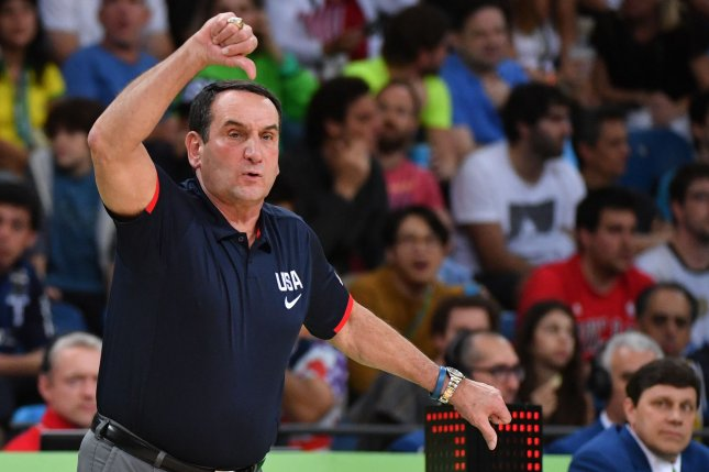 Duke coach Mike Krzyzewski apologized to Blue Devils students who attended their game after screaming at them Tuesday in Durham, N.C. File Photo by Kevin Dietsch/UPI