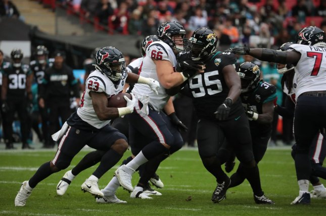 Former Houston Texans running back Carlos Hyde (23) ran for a career-best 1,070 yards with the Texans last season. File Photo by Hugo Philpott/UPI