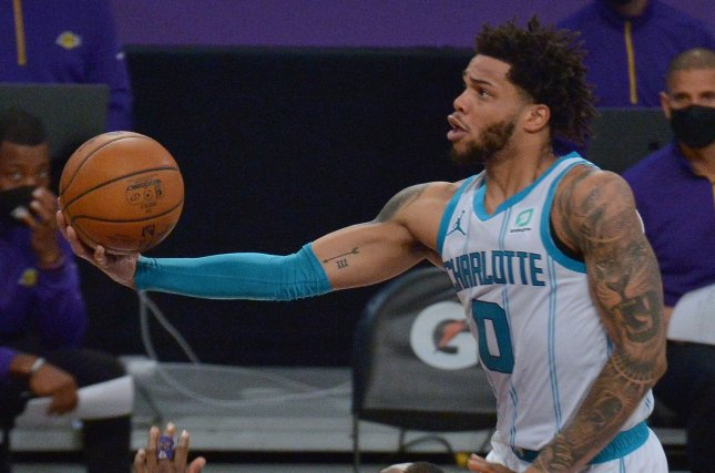 Miles Bridges and the Charlotte Hornets face the Indiana Pacers at 6:30 p.m. EDT Tuesday in Indianapolis. File Photo by Jim Ruymen/UPI