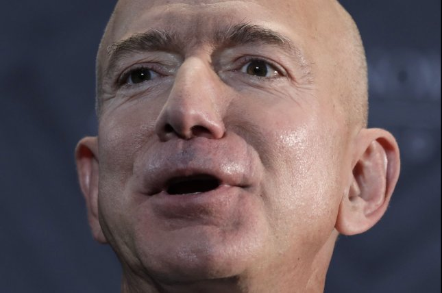 Jeff Bezos, founder of Amazon and Blue Origin, plans to head into space Tuesday aboard one of his company's rockets. File Photo by Yuri Gripas/UPI