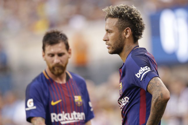 Lionel Messi and Neymar of Barcelona stand on the field in the first half against Juventus on July 22 at The International Champions Cup at Metlife Stadium in East Rutherford, N.J. Photo by John Angelillo/UPI