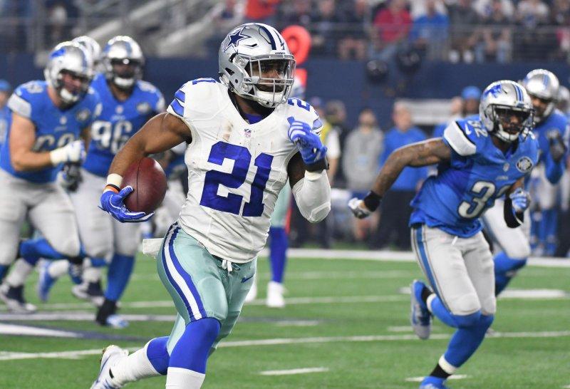 Dallas Cowboys running back Ezekiel Elliott scores on a 55-yard touchdown against the Detroit Lions during a game last season. Photo by Ian Halperin/UPI