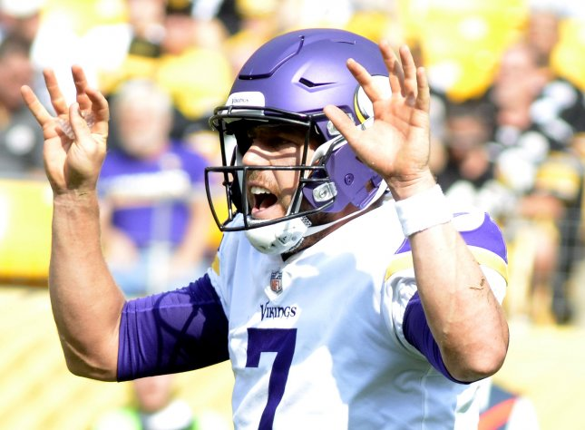 Case Keenum and the Minnesota Vikings pay a visit to the Washington Redskins on Sunday. Photo by Archie Carpenter/UPI