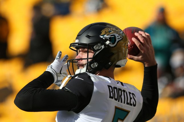 Blake Bortles and the Jacksonville Jaguars face the New England Patriots for the AFC championship Sunday. Photo by Aaron Josefczyk/UPI