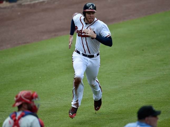 Freddie Freeman and the Atlanta Bfraves face off with the Los Angeles Dodgers on Friday. Photo by David Tulis/UPI