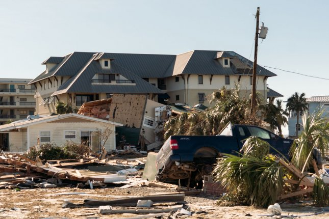 A damaged home and truck sit among the debris from other damaged homes after Hurricane Michael in Mexico Beach, Florida October 13, 2018. Photo by Ken Cedeno/UPI