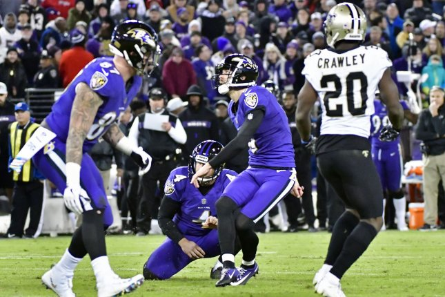 Baltimore Ravens kicker Justin Tucker (C) misses an extra point attempt against the New Orleans Saints on Sunday at M&T Bank Stadium in Baltimore. Photo by David Tulis/UPI