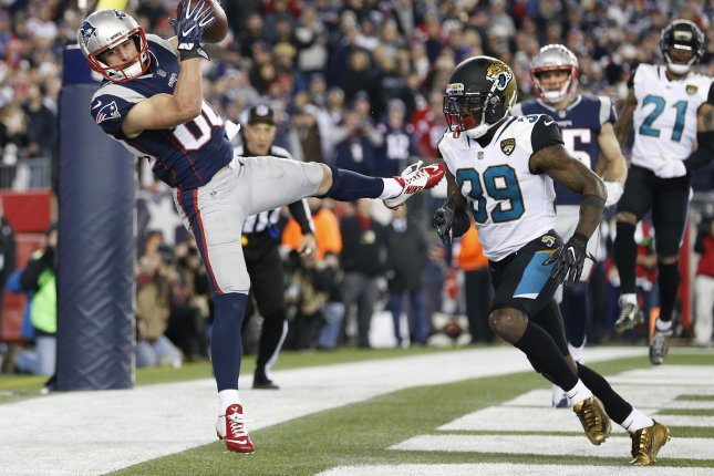 Former Jacksonville Jaguars safety Tashaun Gipson (R) was cut by the Jaguars last week. The Texans announced they signed the safety Tuesday. File Photo by Matthew Healey/UPI