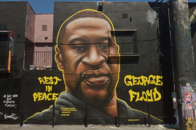 A mural of George Floyd is seen on Melrose Avenue in Los Angeles on June 12. File Photo by Jim Ruymen/UPI