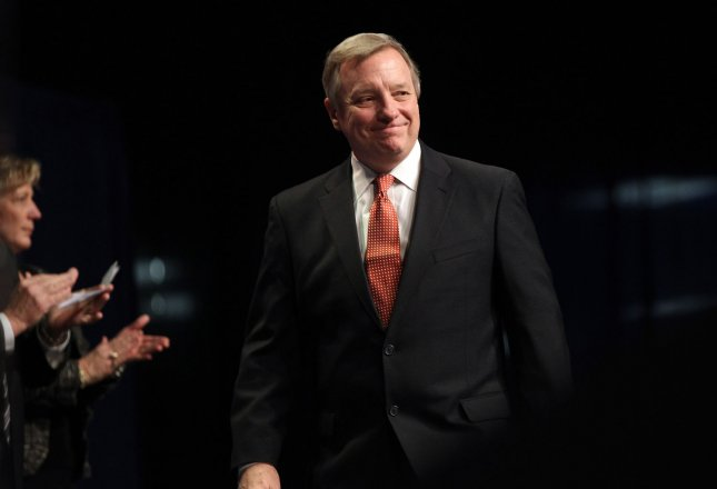 U.S. Senator Dick Durbin (D-IL) is introduced during inaguration ceremonies at the Prairie Capitol Convention Center in Springfield, Illinois on January 10, 2011. UPI/Bill Greenblatt