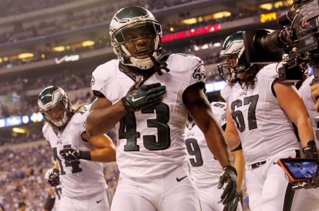 Philadelphia Eagles' Darren Sproles (43) celebrates with his teammates after scoring a touchdown against Indianapolis Colts during the second half of play at Lucas Oil Stadium in Indianapolis, Indiana, September 15, 2014. UPI/John Sommers II