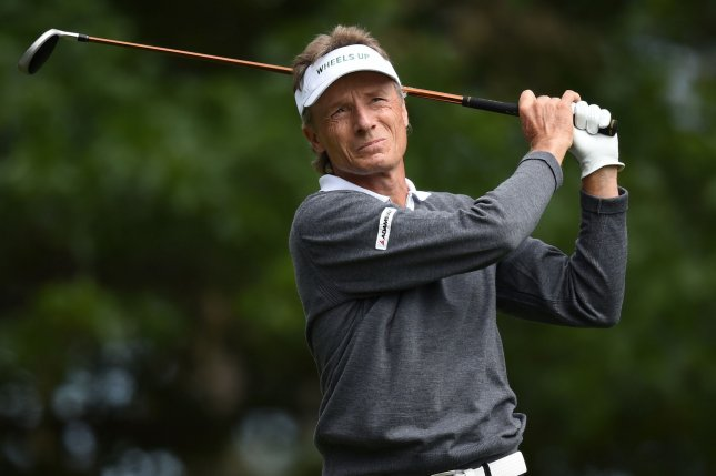 Bernhard Langer held the lead at the end of the first round at the Senior Open in Wales. Photo by Kevin Dietsch/UPI