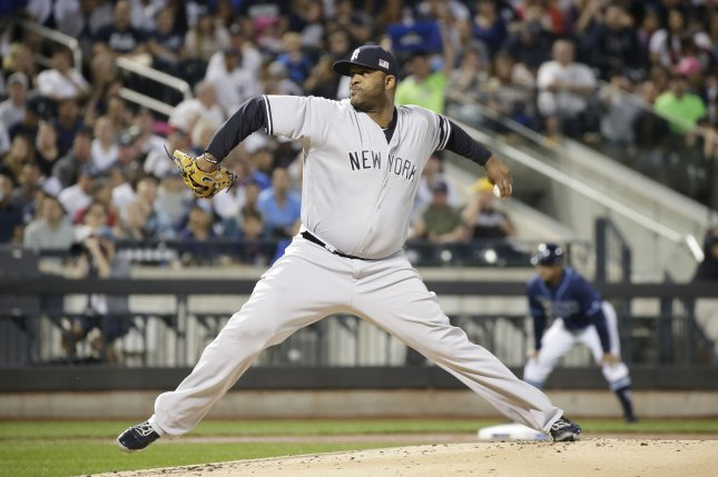 New York Yankees starting pitcher CC Sabathia throws a pitch against the Tampa Bay Rays at Citi Field in New York City on September 11, 2017. File photo by John Angelillo/UPI