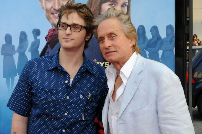 Michael Douglas (R), pictured with Cameron Douglas, introduced his son's newborn daughter in a post Thursday. File Photo by Jim Ruymen/UPI