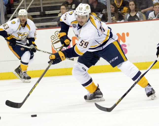 Roman Josi and the Nashville Predators face the Colorado Avalanche in the first round of the NHL playoffs. Photo by Archie Carpenter/UPI