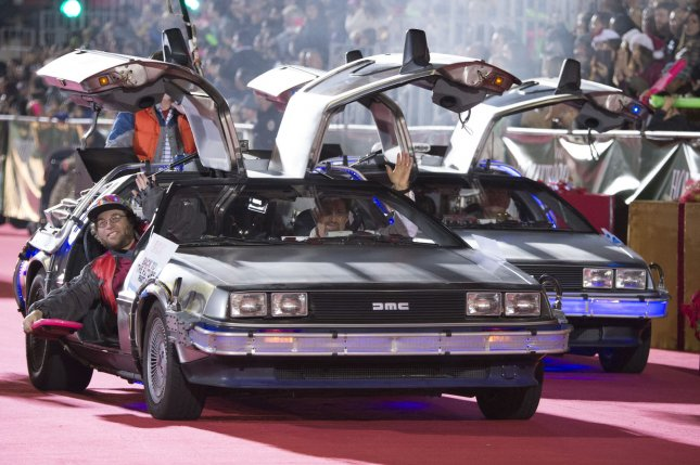 Cars from Back to the Future are seen in the 84th Annual Hollywood Christmas Parade held in the Hollywood area of Los Angeles. File photo by Phil McCarten/UPI