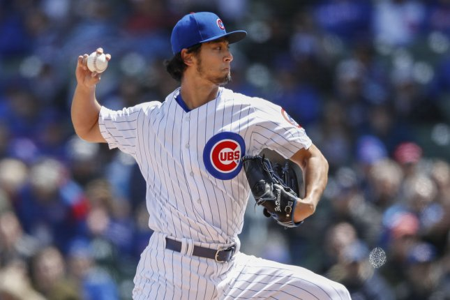 Chicago Cubs starting pitcher Yu Darvish picked up his first win of the season, leading his squad to a win against the Miami Marlins on Monday in Miami. File Photo by Kamil Krzaczynski/UPI