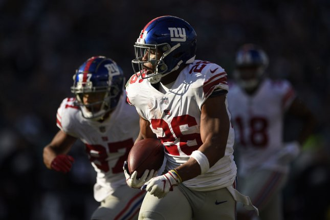New York Giants running back Saquon Barkley exited the team's Week 3 win over the Tampa Bay Buccaneers after he suffered a high ankle sprain. File Photo by Derik Hamilton/UPI