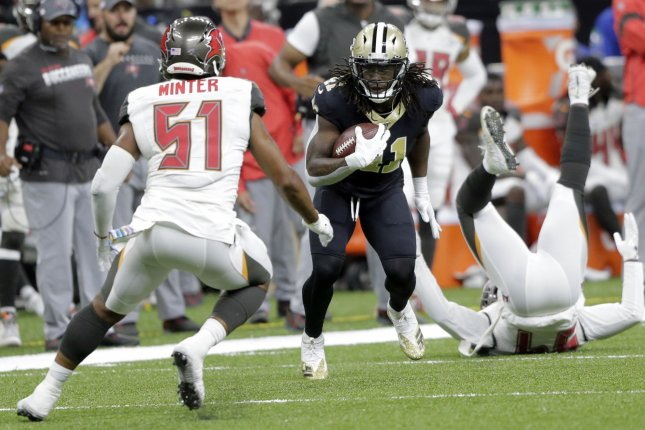 New Orleans Saints running back Alvin Kamara (41) is on pace for a career-high 1,865 yards from scrimmage this season. Photo by AJ Sisco/UPI