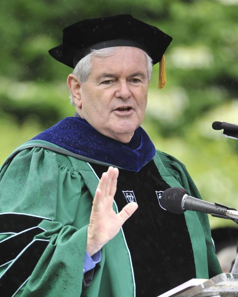 Newt Gingrich delivers the keynote address at the 150th commencement ceremony at Eureka College in Eureka, Illinois on May 14, 2011. Earlier in the week, the former U.S. House Speaker declared his intention to seek the Republican Presidential nomination in the 2012 election. Eureka College is the alma mater of former U.S. President Ronald Reagan who graduated with the class of 1932. UPI/Brian Kersey