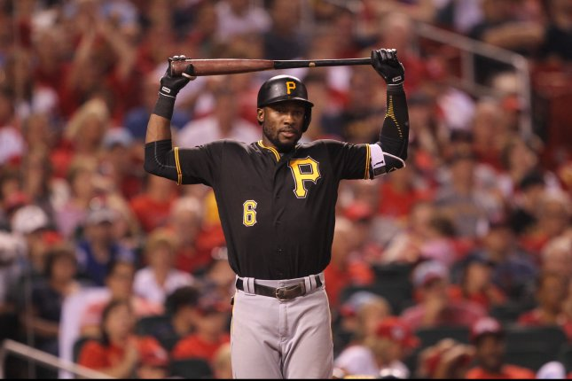 Pittsburgh Pirates' Starling Marte reacts after striking out in the seventh inning against the St. Louis Cardinals at Busch Stadium in St. Louis on July 6, 2016. Pittsburgh won the game 7-5. Photo by Bill Greenblatt/UPI