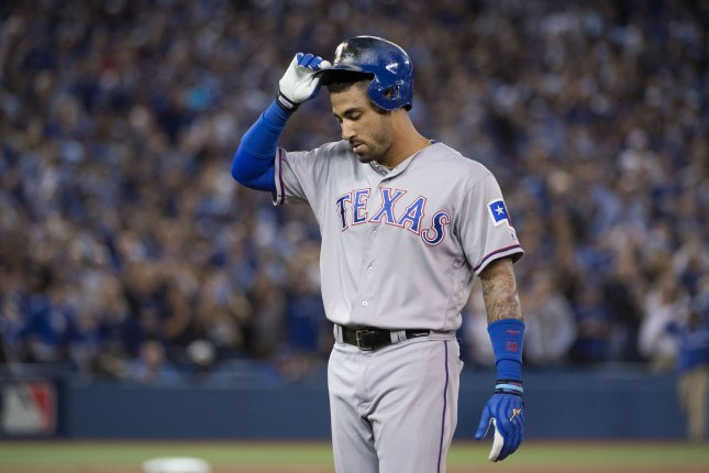Texas Rangers' Ian Desmond reacts after grounding out in the seventh inning of Game 3 of the ALDS against the Toronto Blue Jays at the Rogers Centre in Toronto, Canada on October 9, 2016. Photo by Darren Calabrese/UPI