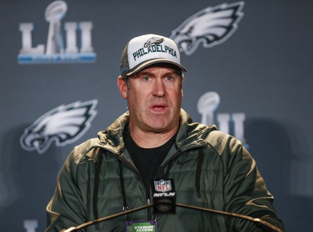 Philadelphia Eagles coach Doug Pederson speaks to the media at Super Bowl LII press conference at the Mall of America in Bloomington, Minn., on Tuesday. Photo by Kamil Krzaczynski/UPI