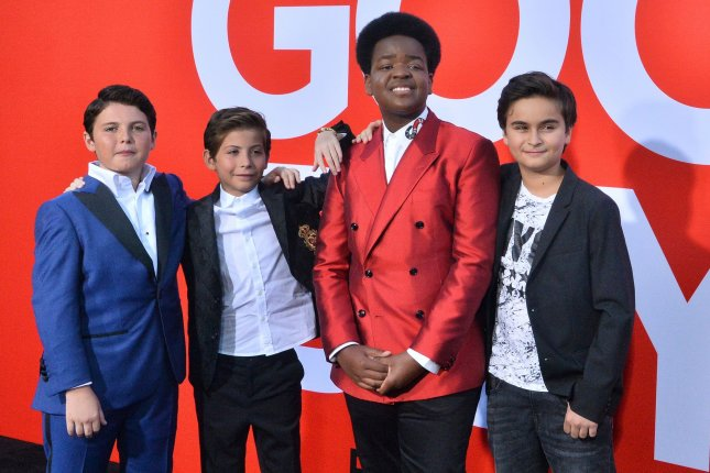 Cast members Brady Noon, Jacob Tremblay, Keith L. Williams and Chance Hurstfield attend the premiere of Good Boys in Los Angeles on Wednesday. Photo by Jim Ruymen/UPI