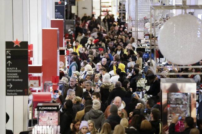 The U.S. Centers for Disease Control and Prevention categorized Black Friday shopping the day after Thanksgiving as high risk for spreading the novel coronavirus in a Thanksgiving advisory. File Photo by John Angelillo/UPI