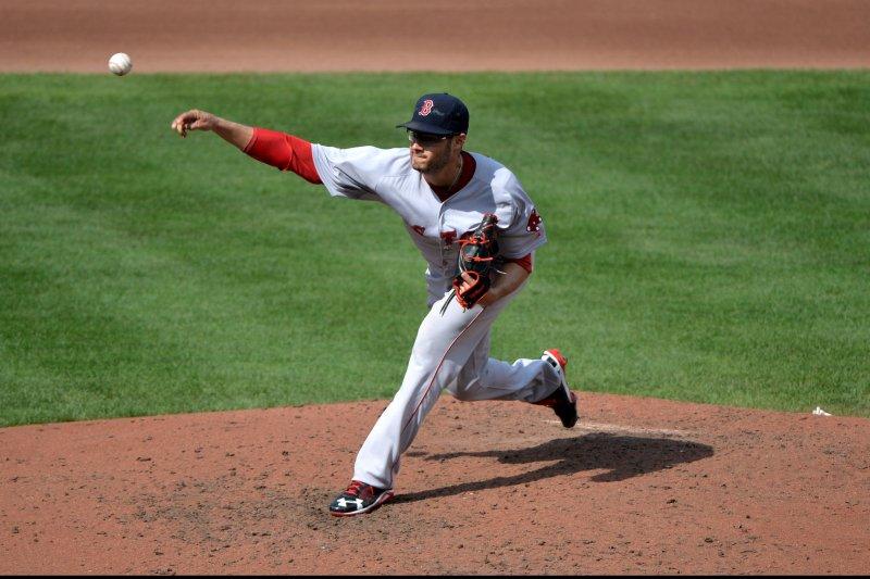 Boston Red Sox pitcher Joe Kelly. UPI/Kevin Dietsch