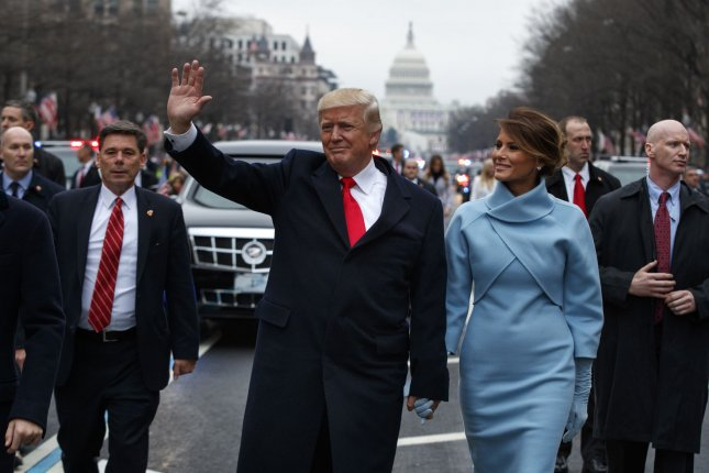 The election of populist candidates such as U.S. President Donald Trump, pictured at center during the parade marking his inauguration on Friday, January 20, 2017, is indicative of a general lack of trust in government and those elected to serve, according to researchers in a recent report on democratic practice around the world. Overall, the researchers found about double the number of nations improving their democracies backslid in doing so in 2016. Pool photo by Evan Vucci/UPI