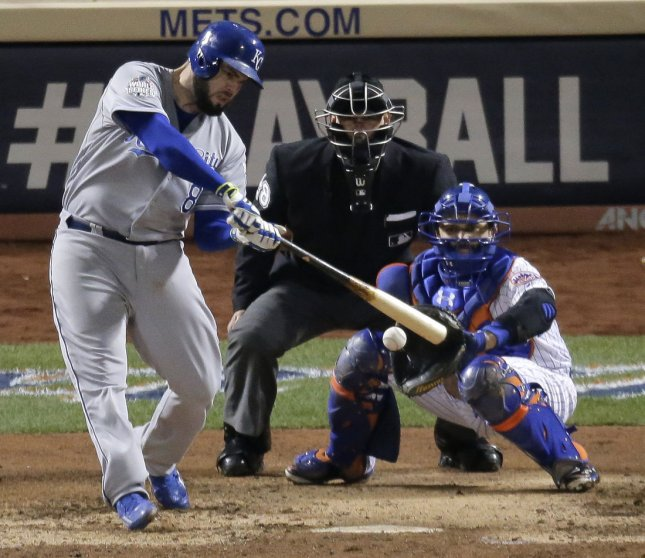 Mike Moustakas and the Kansas City Royals overtook the Seattle Mariners on Thursday. Photo by Ray Stubblebine/UPI