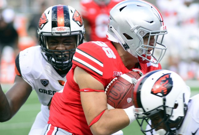 Ohio State tight end Jeremy Ruckert (88) tries to fight through the Oregon State defense during the Buckeyes' 77-31 win at Ohio Stadium in Columbus, Ohio on September 1, 2018. Photo by Archie Carpenter/UPI