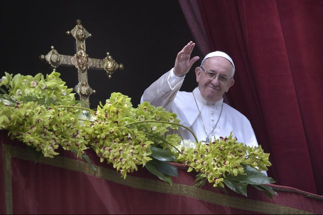 Pope Francis delivers a blessing to the city and to the world from the balcony of St Peter's basilica at the Vatican on April 1. Photo by Stefano Spaziani/UPI