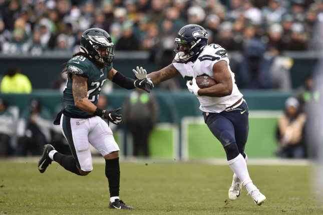Seattle Seahawks running back Rashaad Penny (20) suffered the ACL injury during Sunday's loss to the Los Angeles Rams. File Photo by Derik Hamilton/UPI