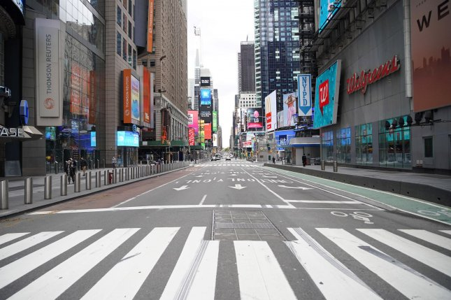 New York City's Times Square appears a virtual ghost town on Monday with little foot and vehicle traffic due to ongoing restrictions to fight the coronavirus pandemic. Photo by John Angelillo/UPI
