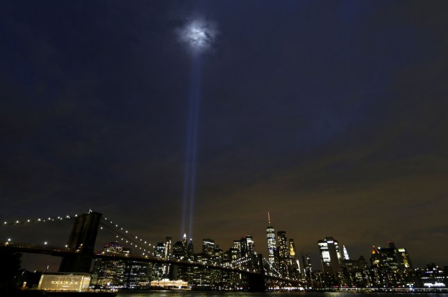 The Twin Towers Tribute In Light art installation shines in Lower Manhattan near One World Trade Center on the eve of the 19th anniversary of the Sept. 11 terrorist attacks on the World Trade Center at Ground Zero in New York City on Thursday. Photo by John Angelillo/UPI