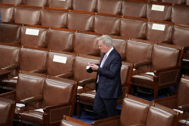 House Republican leader Kevin McCarthy is seen at the U.S. Capitol in Washington, D.C., on April 28. Pool Photo by Andrew Harnik/UPI