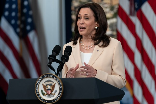 Vice President Kamala Harris announces the disbursement of nearly $1.25 billion for community development financial institutions, via the Rapid Recovery Program, in the Eisenhower Executive Office Building in Washington, D.C., on Tuesday. Photo by Chris Kleponis/UPI