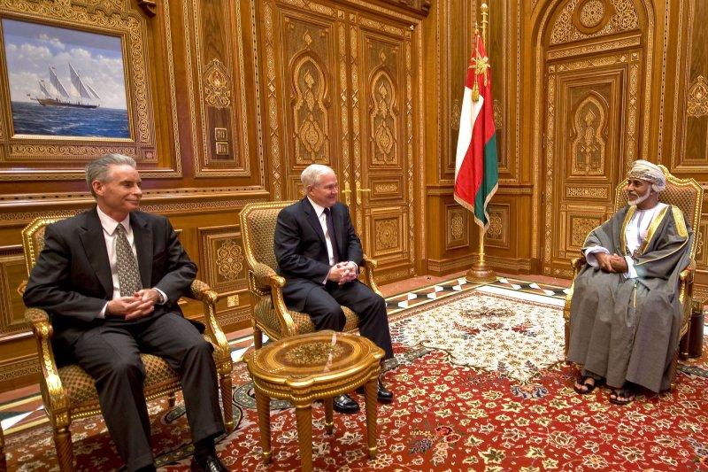 U.S. Defense Secretary Robert M. Gates talks with Omani Sultan Qaboos at the Bait Al Baraka Palace in Muscat, Oman, December 5, 2010. UPI/Jerry Morrison/DOD