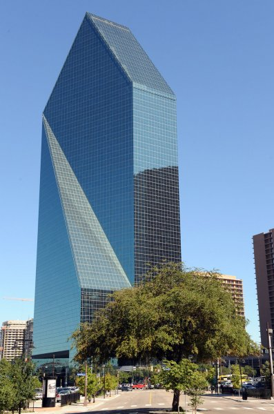 The Fountain Place building in Dallas, Texas is seen on September 25, 2009. According to the FBI, Jordanian citizen Hosam Maher Husein Smadi parked a vehicle laden with government-supplied fake explosives in the underground parking garage of the 60-story tower in downtown Dallas. Smadi's arrest yesterday was part of an FBI sting operation that began after an agent monitoring an online extremist Web site discovered Smadi espousing jihad against the U.S. more than six months ago. UPI/Ian Halperin