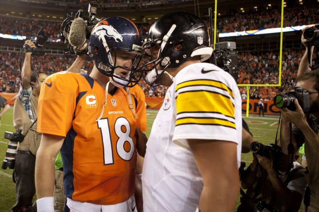 Denver Broncos quarterback Peyton Manning and Pittsburgh Steelers quarterback Ben Roethlisberger. File photo Gary C. Caskey/UPI