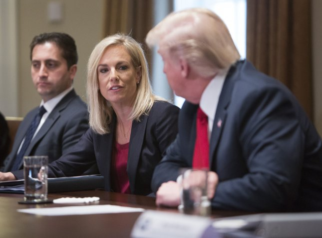 U.S. Department of of Homeland Security Secretary Kirsten Nielsen participates as U.S. President Donald Trump hosts a law enforcement roundtable on the MS-13 gang violence at the White House on Tuesday. Photo by Chris Kleponis/UPI