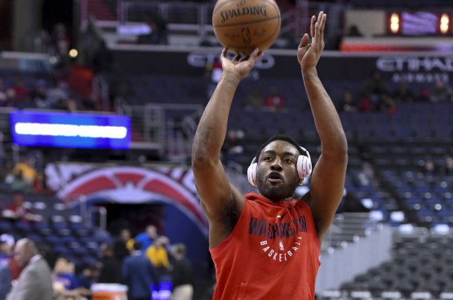 Washington Wizards guard John Wall (2) warms up at Capital One Arena on March 17 in Washington, D.C. Photo by Mark Goldman/UPI