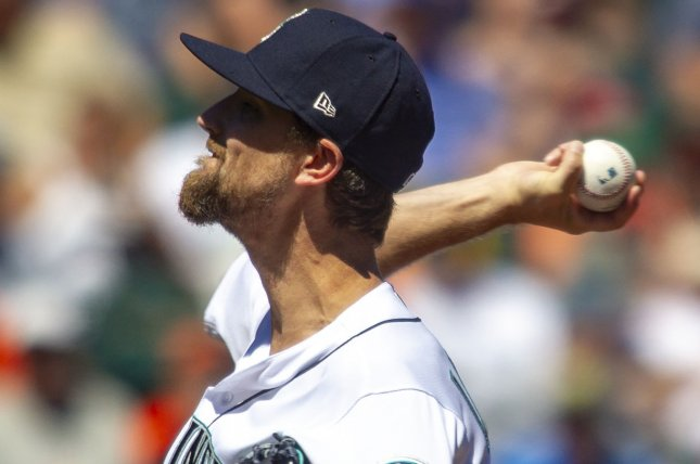 Mike Leake and the Seattle Mariners face the Los Angeles Angels on Thursday. Photo by Jim Bryant/UPI